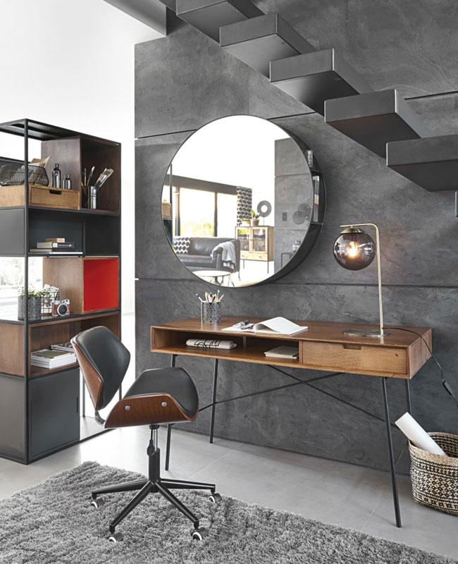 fauteuil bureau moderne cuir noir bois