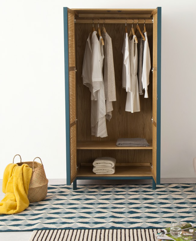 armoire cannage chêne bleu