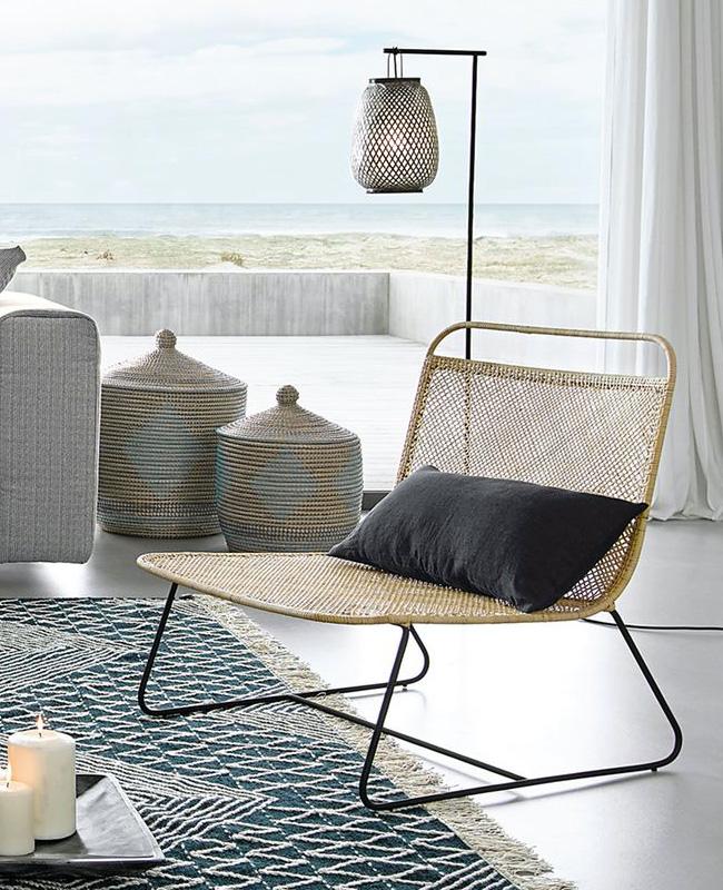 fauteuil bas tressage naturel moderne