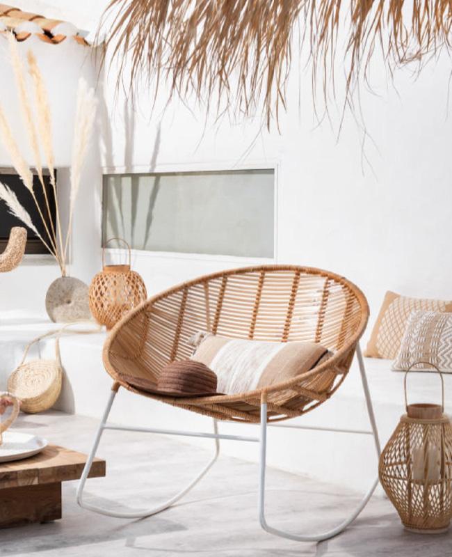 fauteuil bas tressage naturel rocking chair