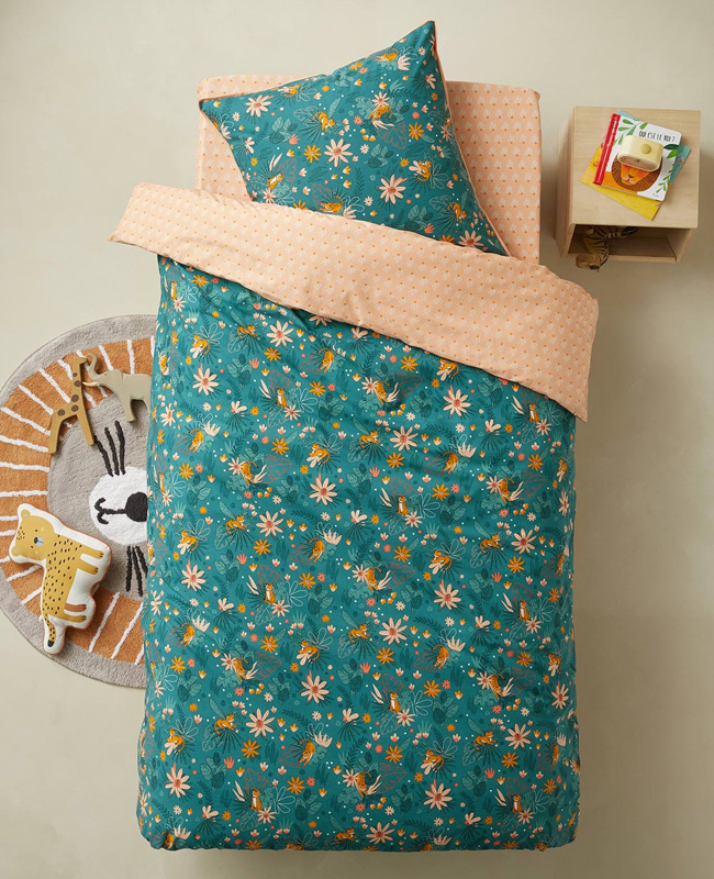 linge de lit printanier enfant bleu vert