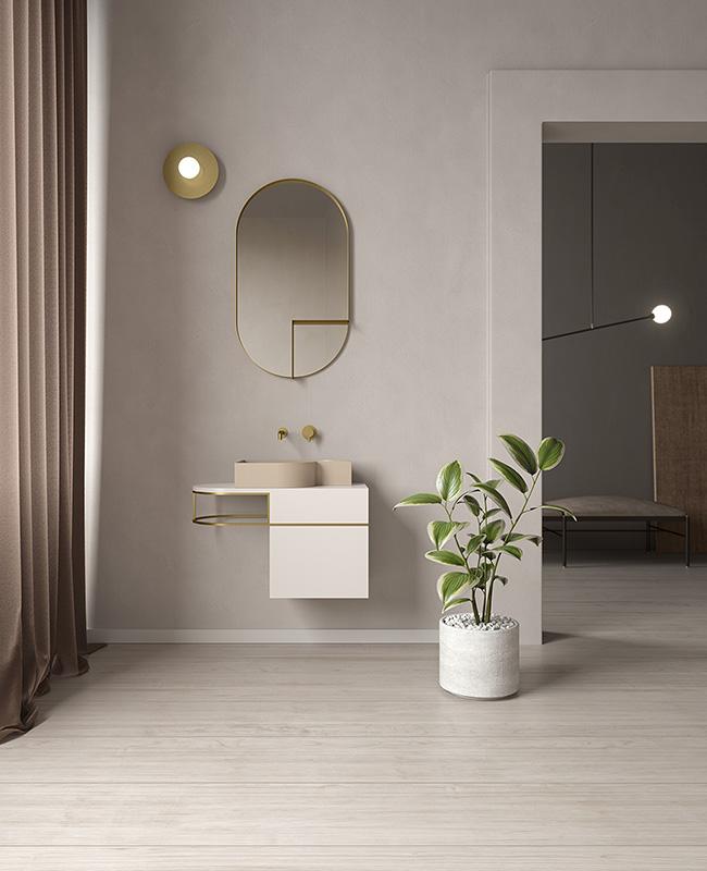 collection ex t design salle de bain beige dore