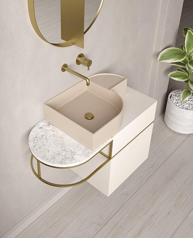 collection ex t design salle de bain rose dore