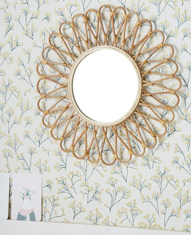 deco miroir rotin fleur