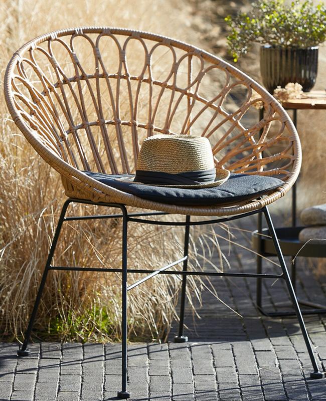 fauteuil jardin rotin rond metal