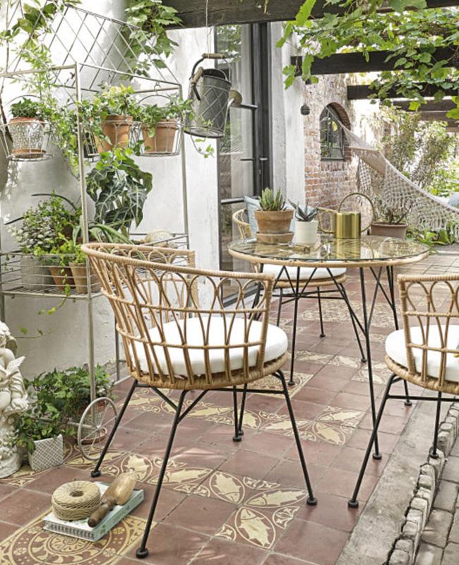 fauteuil jardin rotin metal