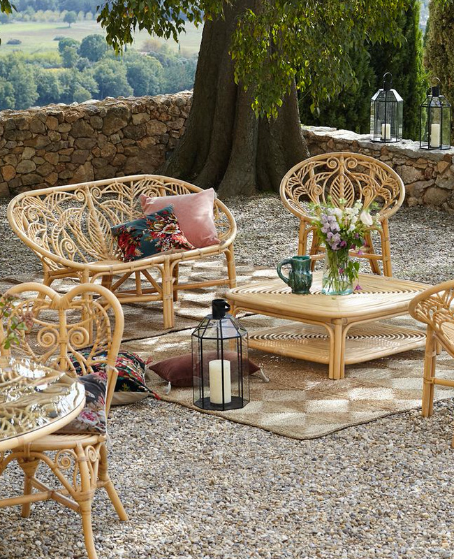 fauteuil jardin rotin rond vintage