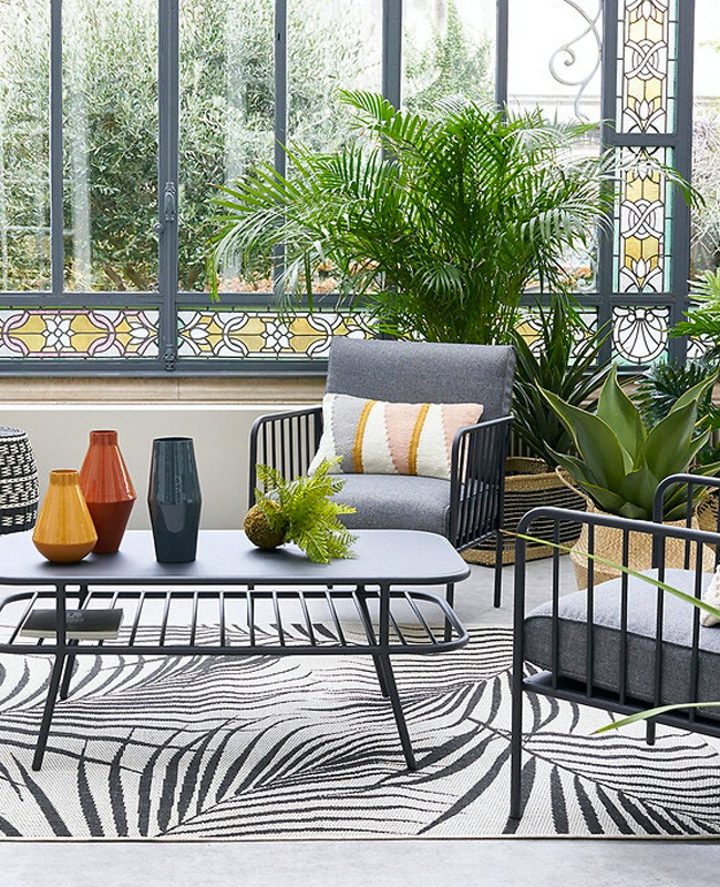 salon de jardin moderne metal gris