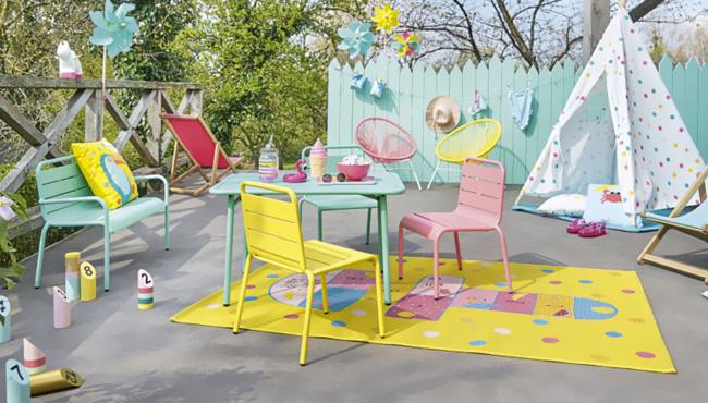 salon jardin metal coloré enfant