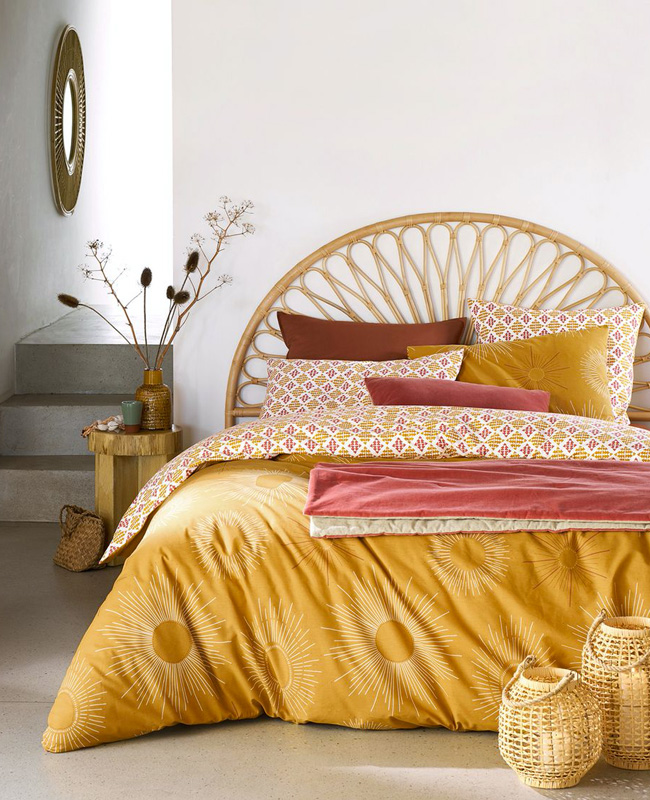 tête de lit rotin ronde