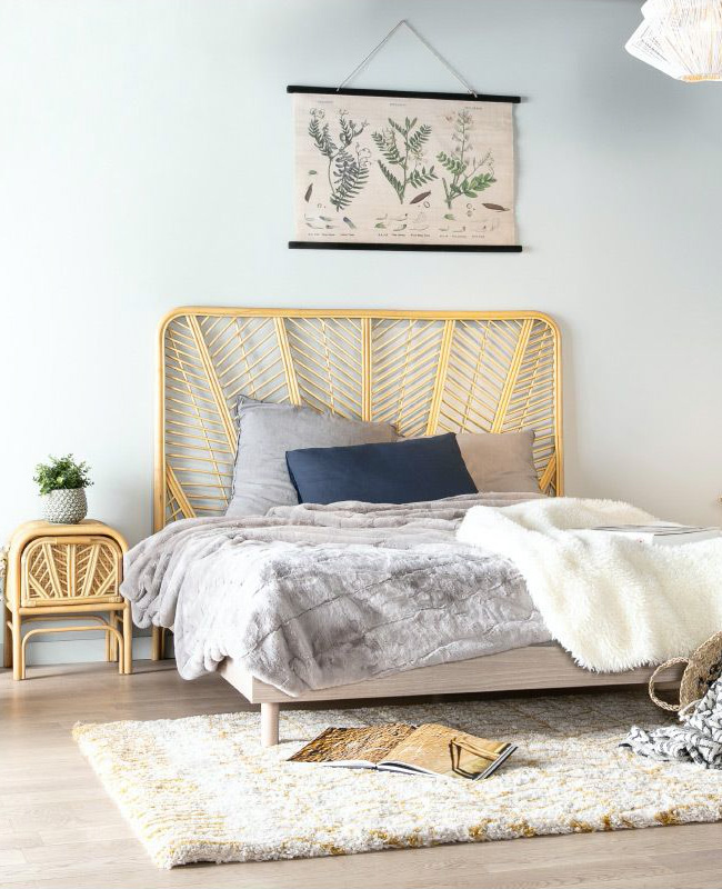 tête de lit rotin rectangulaire