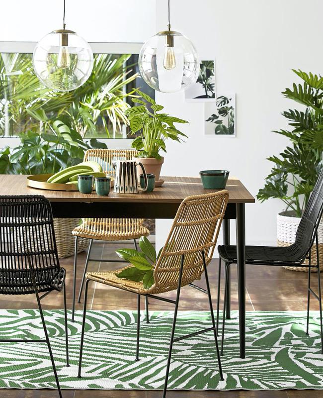 deco terrasse tropicale tapis feuilles palmier
