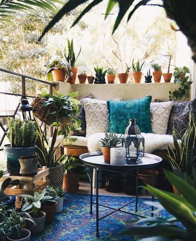 deco balcon boheme plantes