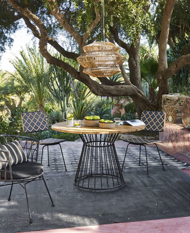 table jardin ronde bois metal noir Paola