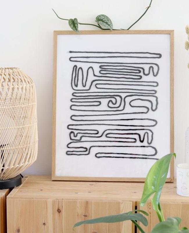 tuto diy affiche abstraite laine
