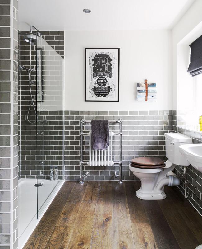 deco salle de bain vintage chic bois