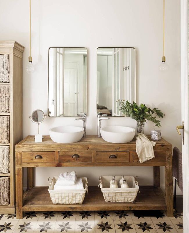 salle de bain campagne bois