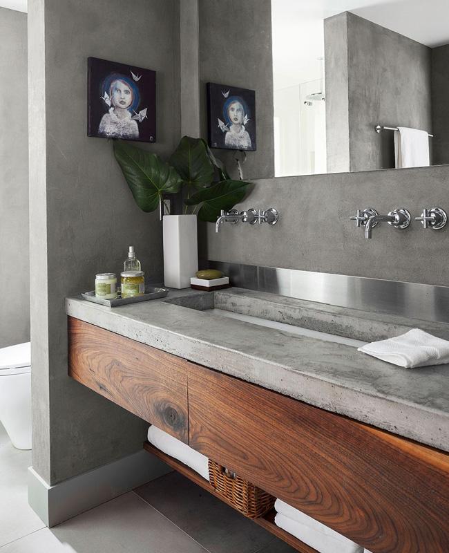deco salle de bain moderne bois beton