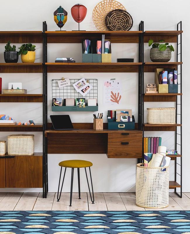 bureau etagere vintage bois