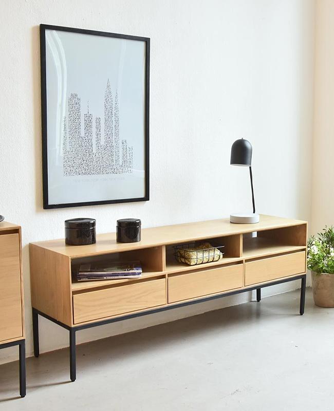 meuble tv bois noir