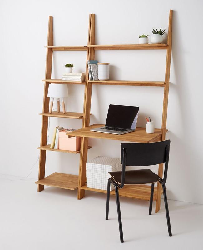 bureau etagere bois