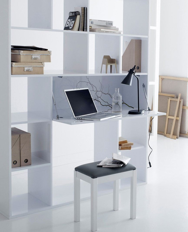 bureau bibliothèque blanc