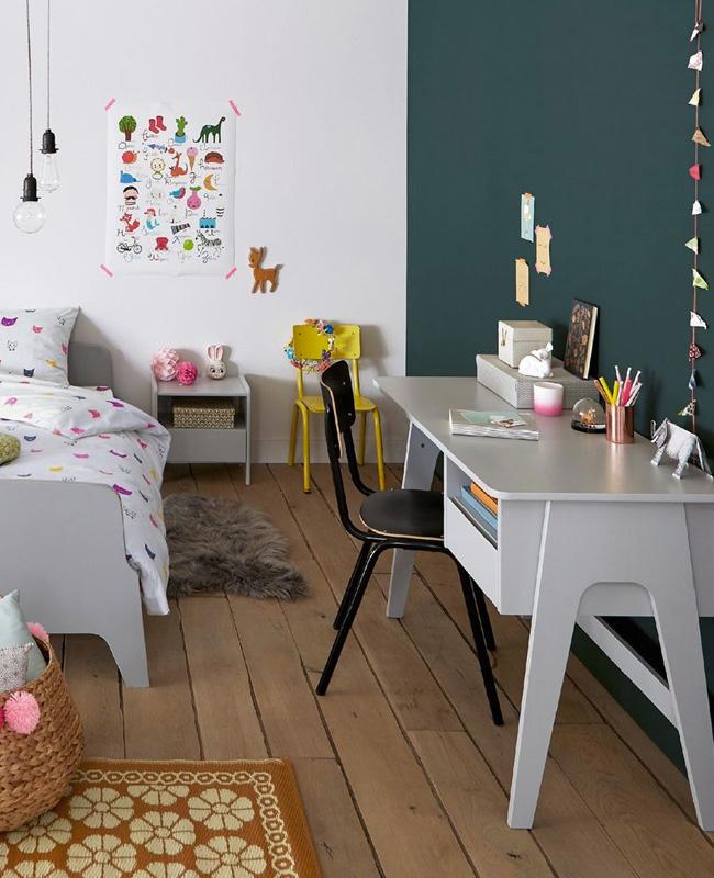 bureau enfant rétro vert de gris