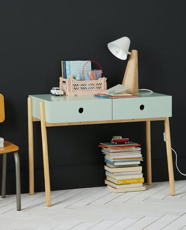 bureau enfant primaire bois vert pastel