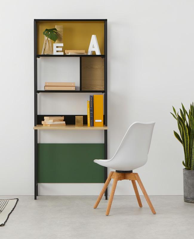 bureau etagere bois metal noir