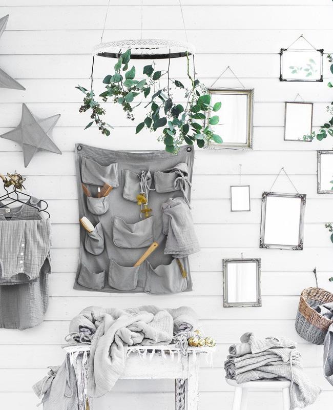 rangement mural gris enfant