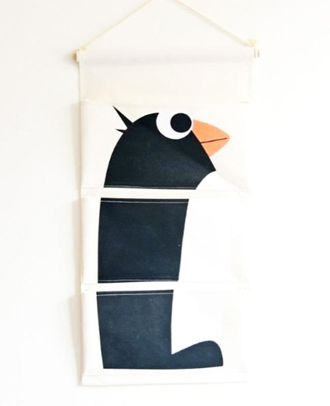 rangement mural tissu enfant pingouin