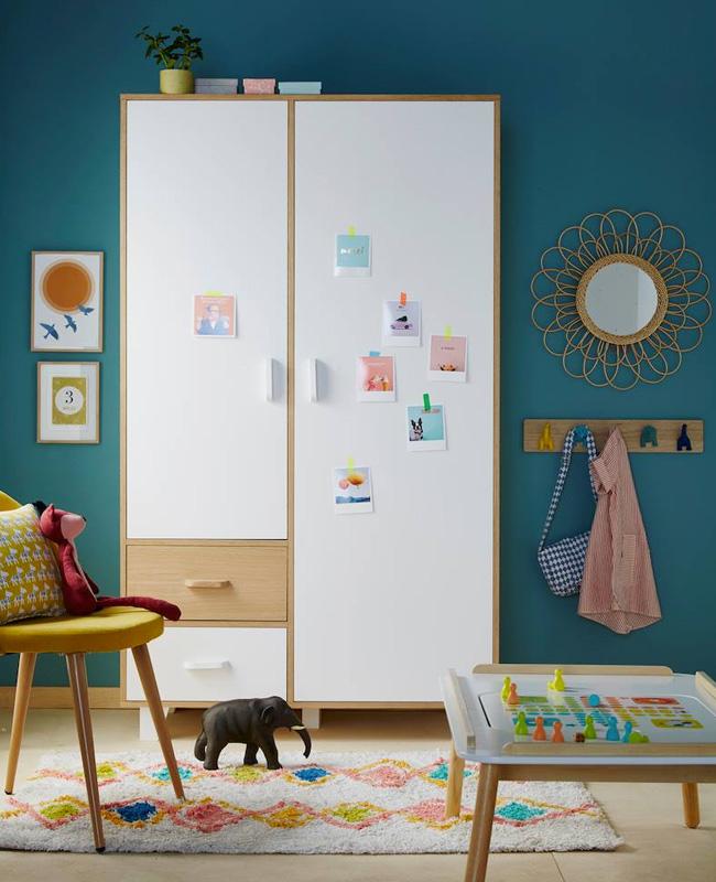 armoire enfant blanc bois