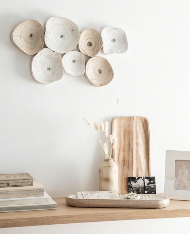 deco murale bois blanc beige
