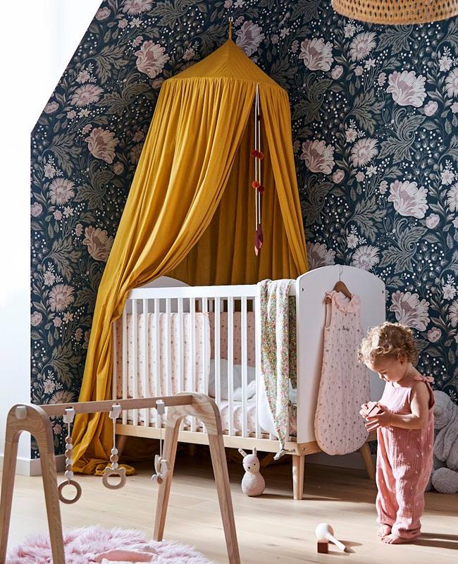 ciel de lit chambre bebe jaune moutarde