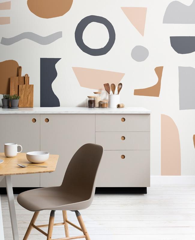 papier peint grand motif abstrait colore cuisine