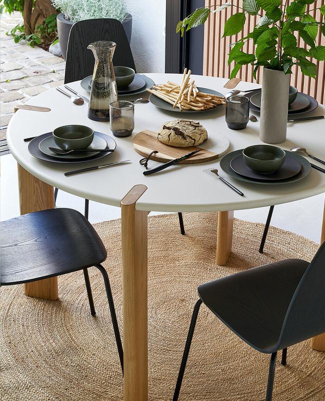table ronde salle a manger bois blanc
