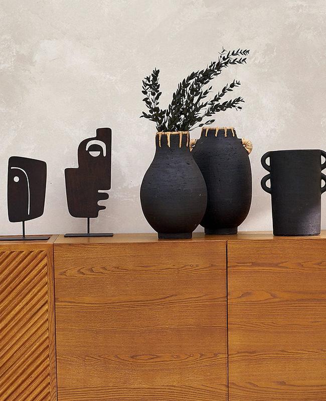 vase céramique rotin artisanal noir