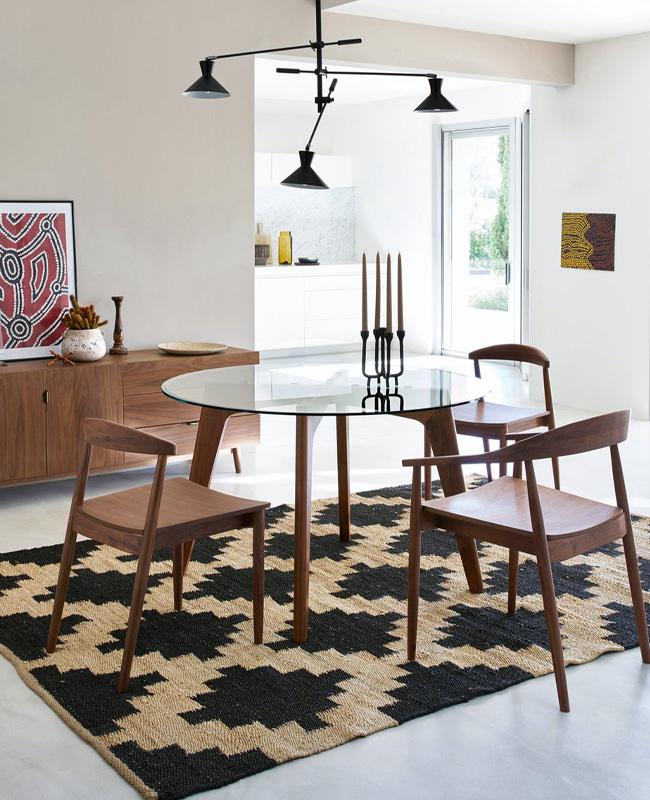 table ronde salle a manger bois verre