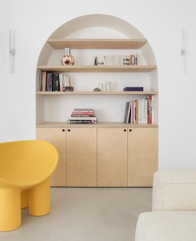 deco arrondie bibliothèque bois