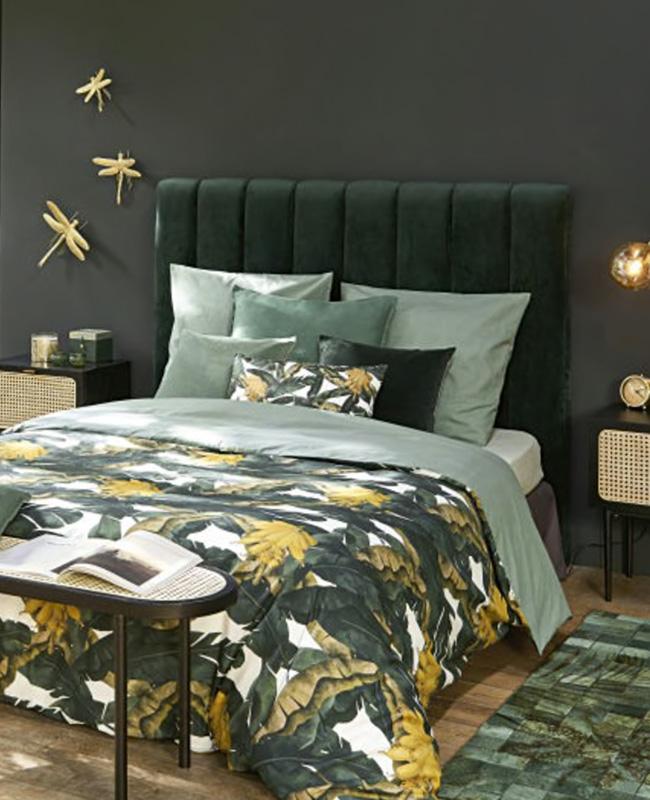 tete de lit velours vert