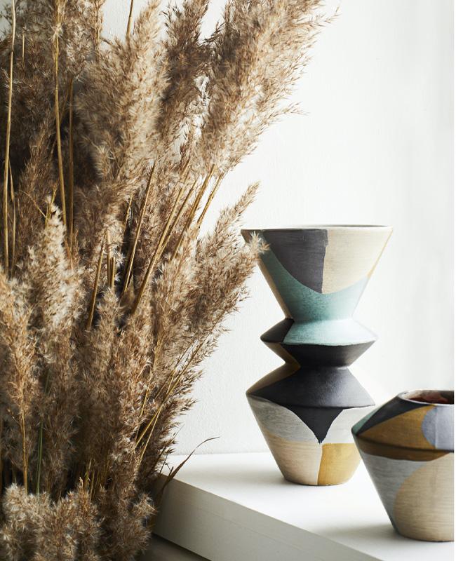vase terre cuite bleu céramique
