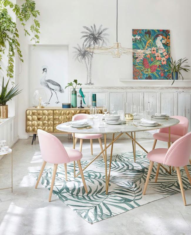 table ronde salle a manger marbre blanc laiton
