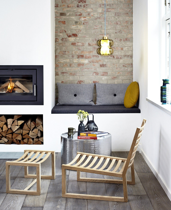 deco coin cheminee banquette moderne