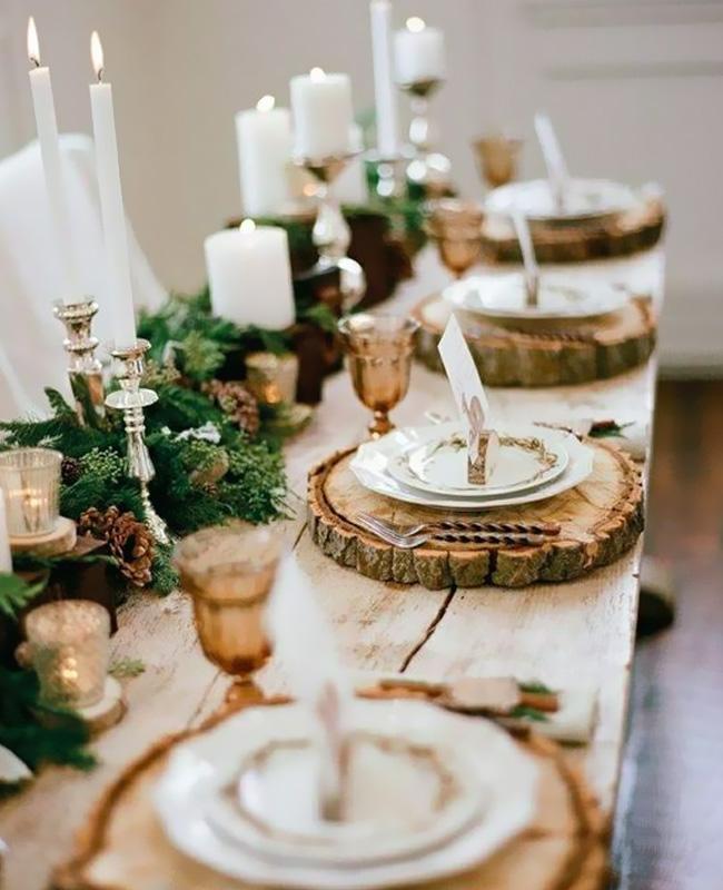 deco table noel nature rondin bois