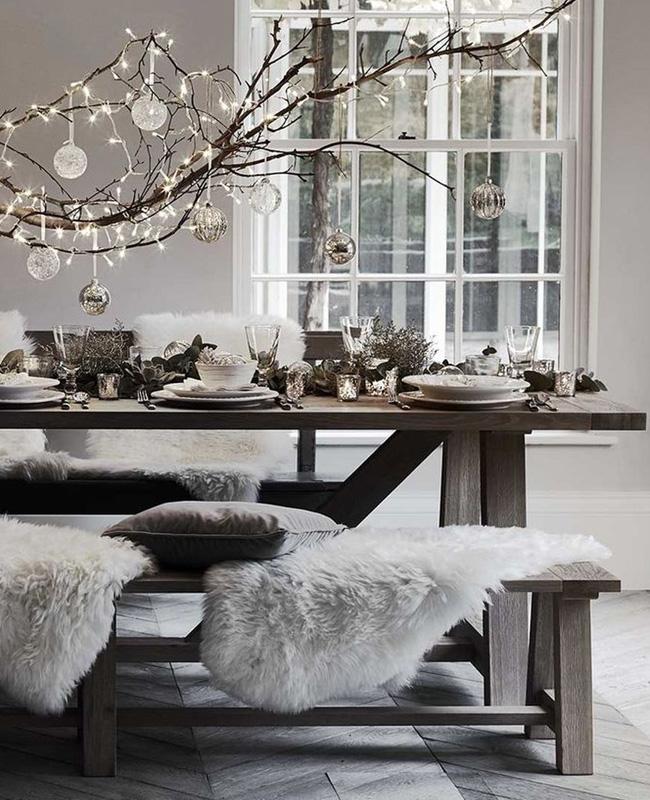 deco noel blanc bois nature