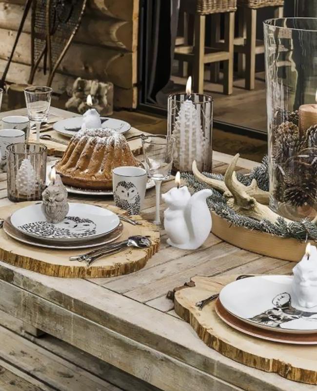 deco table noel nature bois