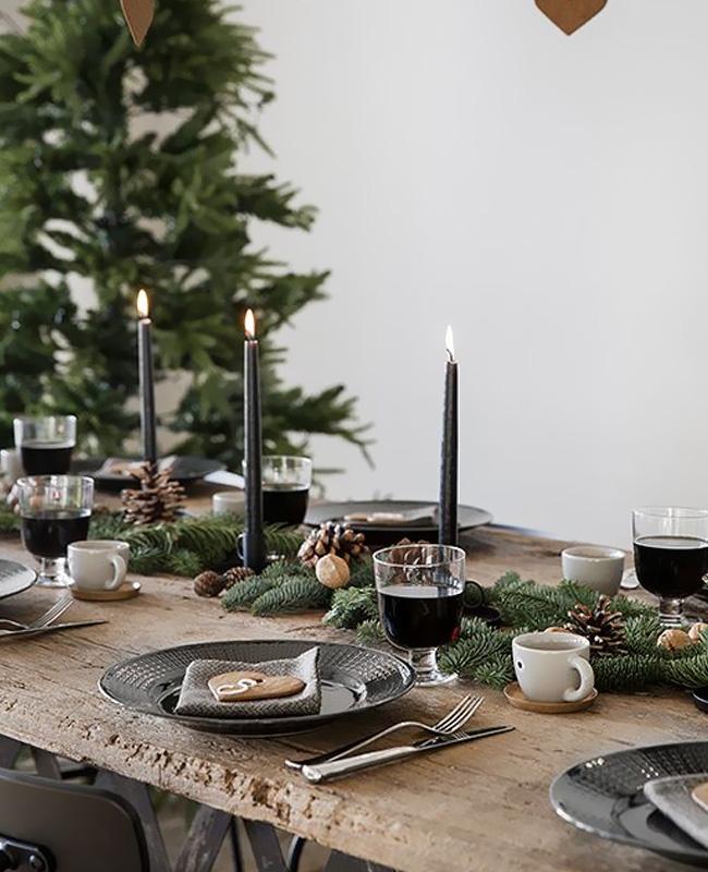 deco table noel nature noir