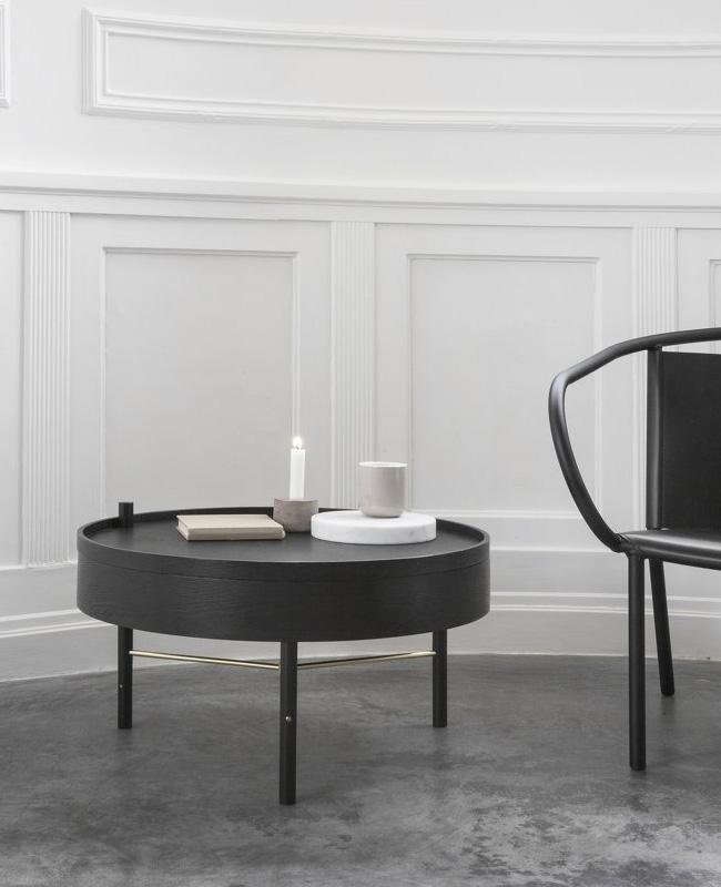 table basse ronde noire rangement