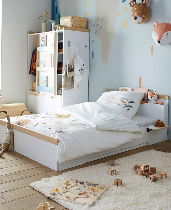 lit enfant rangement tete de lit