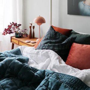 deco chambre bleu terracotta